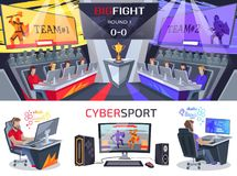 Cybersport Big Fight Poster in Electronic Gaming Stock Image