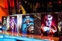 Cybersport EPIZENTRUM-MOSKAUS Dota 2 Ereignis kann 13 Spiel-Auswahl von Helden auf dem Schirm Team Alliance Stockfotografie