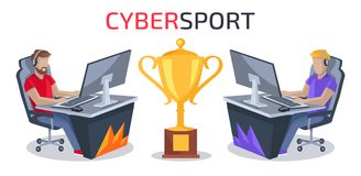 Cybersport Player vs Player Vector Illustration. Cybersport player vs player battle with two gamers playing computer game competing for golden prize. Vector Stock Photo