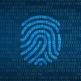 Cyberteknologisäkerhet, fingeravtryckID på den digitala skärmen Royaltyfri Foto