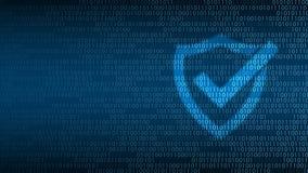 Cyberteknologisäkerhet, sköld på den digitala skärmen Fotografering för Bildbyråer