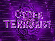 CyberterroristExtremism Hacking Alert 3d illustration stock illustrationer