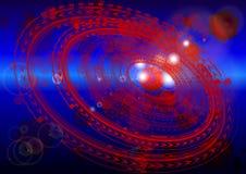 Cyberutrymme Abstrakt sammansättning med runda modeller och viktig stock illustrationer