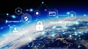 Cyberveiligheid bij aarde het 3D teruggeven Stock Foto