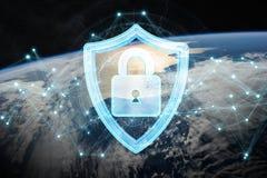 Cyberveiligheid bij aarde het 3D teruggeven Royalty-vrije Stock Afbeelding
