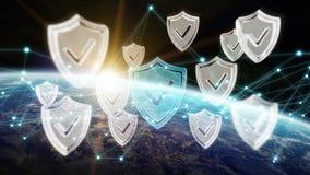 Cyberveiligheid bij aarde het 3D teruggeven Royalty-vrije Stock Foto's