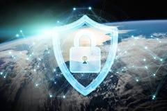 Cyberveiligheid bij aarde het 3D teruggeven Stock Fotografie