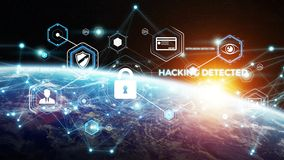 Cyberveiligheid bij aarde het 3D teruggeven Royalty-vrije Stock Foto