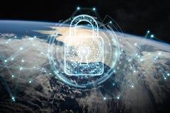 Cyberveiligheid bij aarde het 3D teruggeven Stock Afbeeldingen