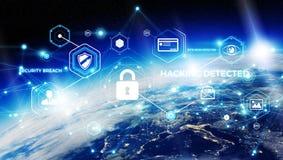 Cyberveiligheid bij aarde het 3D teruggeven Royalty-vrije Stock Afbeeldingen