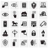 Cyberveiligheid en computer op vierkantenachtergrond wordt geplaatst voor grafisch en Webontwerp, Modern eenvoudig vectorteken da royalty-vrije stock foto