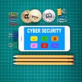 Cyberveiligheid en pictogrammenconcept royalty-vrije stock foto's