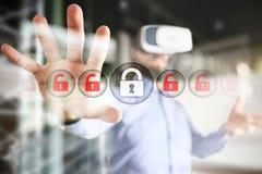 Cyberveiligheid, Gegevensbescherming, informatieveiligheid en encryptie Internet-technologie en bedrijfsconcept royalty-vrije stock afbeeldingen