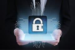 Cyberveiligheid, Gegevensbescherming, informatieveiligheid en encryptie Internet-technologie en bedrijfsconcept royalty-vrije stock afbeelding