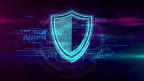 Cyberveiligheid met het abstracte concept van het schildsymbool stock illustratie