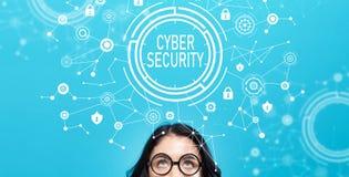 Cyberveiligheid met jonge vrouw Stock Afbeelding