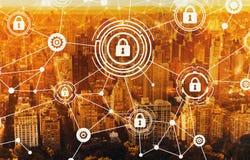 Cyberveiligheid met luchtmening van NY horizon Royalty-vrije Stock Afbeelding