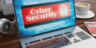 Cyberveiligheid op het laptop scherm 3D Illustratie Royalty-vrije Stock Afbeeldingen