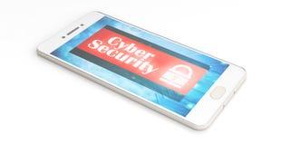 Cyberveiligheid op het smartphonescherm 3D Illustratie Stock Afbeelding
