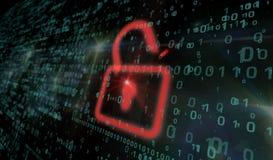Cyberveiligheid - rood hangslot Stock Foto's