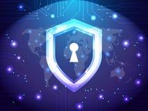 Cyberveiligheidsagent Network Veiligheid en Internet-concept De beschermingsthema van de schildwacht Stock Afbeelding
