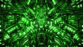 Cyberwand mit Flachrelief und hervorstehendem Roboterkopf Gr?ne Farbe lizenzfreie stockfotos