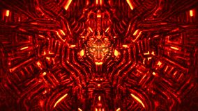 Cyberwand mit Flachrelief und hervorstehendem Roboterkopf Rote Farbe stockbilder