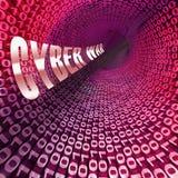 Cyberwar het Virtuele Oorlogvoering het Binnendringen in een beveiligd computersysteem Invasie 3d Teruggeven stock illustratie