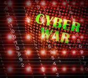 Cyberwar Virtuele Oorlogvoering het Binnendringen in een beveiligd computersysteem Invasie 2d Illustratie stock illustratie