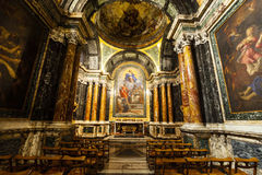 Cybo Chapel, Santa Maria del Popolo Church. Rome. Italy. Immaculate Conception with saints, Carlo Maratta famous painter of the second half of the seventeenth Royalty Free Stock Image