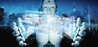 Cyborg χρησιμοποιώντας wireframe την ολογραφική τρισδιάστατη ψηφιακή προβολή ενός ε απεικόνιση αποθεμάτων