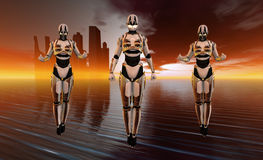Cyborg. Quality 3d illustration of cyborg woman in futuristic world Stock Images