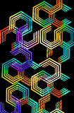Cyborg. 80's pop art multi ring octogon geometric design with neon fleurescent color fill Stock Photos