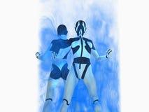 Cyborg. Female cyborg powers up energy Stock Photo
