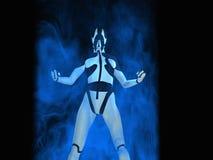 Cyborg. Female cyborg powers up energy Royalty Free Stock Images