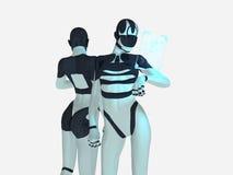 Cyborg. Female cyborg uses holographic computer Royalty Free Stock Photography