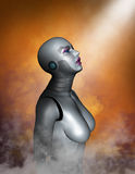 Cyborg Android Robot Technology Woman. Illustration of a cyborg android robot. The female woman technology machine is showing spiritual wonder of the heavens Stock Images