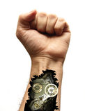 Cyborg arm. With gears implanted inside Stock Images