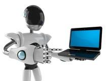 Cyborg avec l'ordinateur portable illustration stock