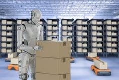 Cyborg avec le robot d'entrepôt illustration libre de droits