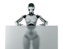 Cyborg behind the transparent board Royalty Free Stock Photography
