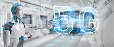 Cyborg bianco che usando la rappresentazione digitale dell'ologramma 3D della rete 5G illustrazione vettoriale