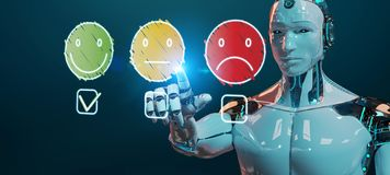 Cyborg bianco che usando linea sottile valutazione di soddisfazione del cliente illustrazione vettoriale