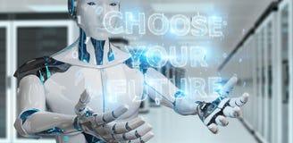 Cyborg blanc employant le rendu de l'interface 3D des textes de future décision illustration stock