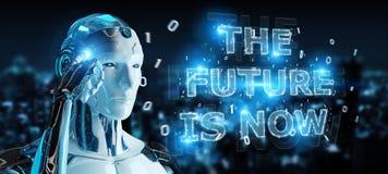 Cyborg blanc employant le rendu de l'interface 3D des textes de future décision illustration de vecteur