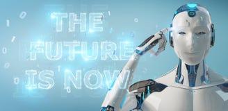 Cyborg blanc employant le rendu de l'interface 3D des textes de future décision illustration libre de droits