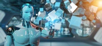 Cyborg blanc employant le rendu numérique bleu de la structure 3D de cube illustration de vecteur