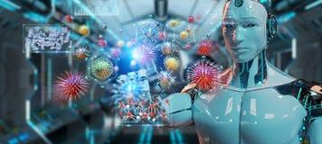 Cyborg creating and analyzing nanovirus 3D rendering. Cyborg on blurred background creating and analyzing nanovirus 3D rendering vector illustration
