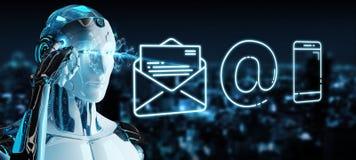 Cyborg branco que usa a linha fina ícone do contato ilustração royalty free