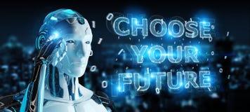 Cyborg branco que usa a rendição da relação 3D do texto da decisão futura ilustração do vetor